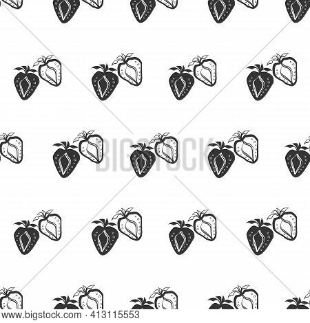 Strawberry Linocut Seamless Vector Pattern Background. Stencil Style Hand Drawn Rows Of Berries On W
