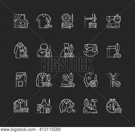 Clothing Alteration And Repair Services Chalk White Icons Set On Black Background. Professional Upho