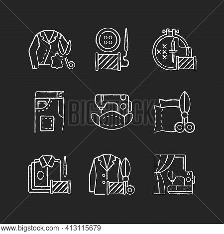 Sewing Services Chalk White Icons Set On Black Background. Leather Outfit. Button Replacement. Garme