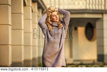 Feeling Totally Free. Girl Soft Knitwear Dress. Cashmere Woolen Sweater. Warm Oversized Clothes. Sex