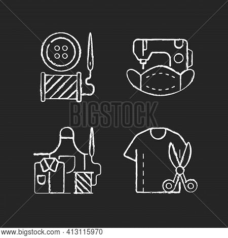 Clothing Alteration Chalk White Icons Set On Black Background. Button Replacement. Mask Sewing. Work