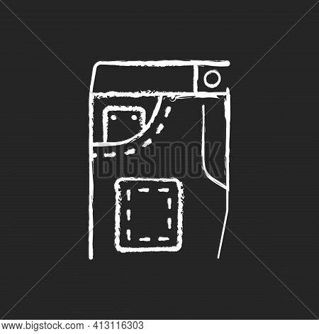 Denim Repair Chalk White Icon On Black Background. Jeans Pants With Pockets. Clothes Shop. Professio