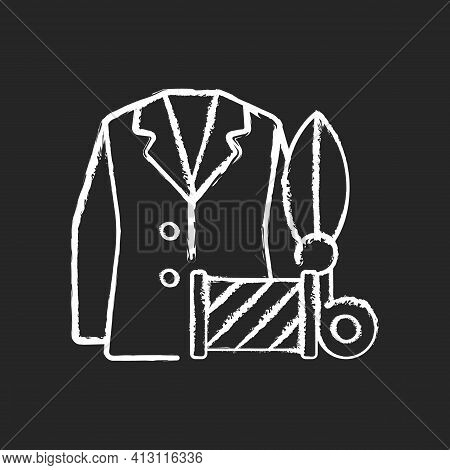 Custom Suits And Shirts Chalk White Icon On Black Background. Professional Tailor Studio. Garment Re