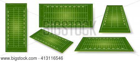 American Football Field. Realistic Ball Sport Pitch Sheme With Zone Markings. Stadium Grass Court Pe