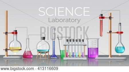 Realistic Science Laboratory. Chemical Lab Glassware, Beakers, Test Tubes, Flasks And Bottles With E