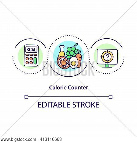 Calorie Counter Concept Icon. Calculating Carbohydrates And Cholesterol. Intermittent Fasting Idea T