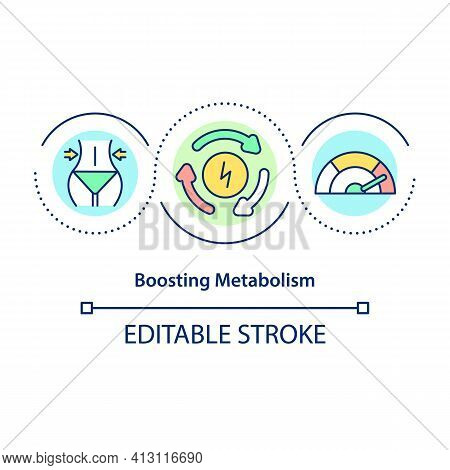 Boosting Metabolism Concept Icon. Nutrition And Exercise. Healthy Eating. Intermittent Fasting Benef