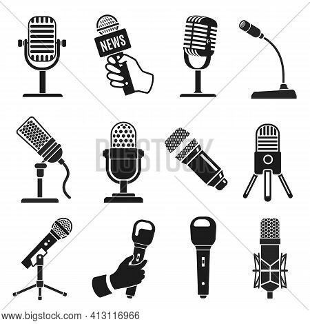 Microphone Silhouette. Modern And Old Vintage Mic Icons. Music Or Podcast Recording. Logo Element Fo