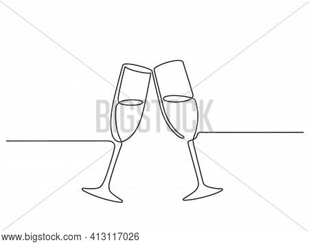 One Line Champagne Toast. Continuous Linear Couple Wine Glasses Clink. Wedding Party Cheers. Minimal