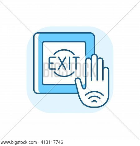 No Touch Exit Switch Blue Rgb Color Icon. Exit Button With Infrared Sensor Which Allows User To Unlo
