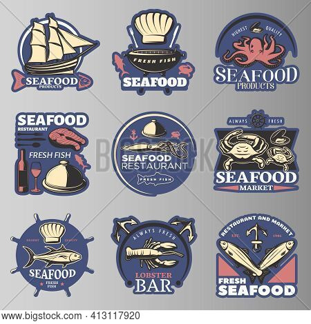 Seafood Emblem Set In Color With Highest Quality Seafood Products Seafood Restaurant Fresh Fish Lobs