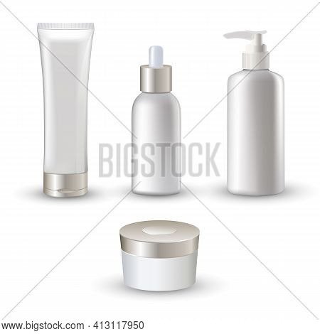 Isolated White Realistic Cosmetic Tubes Icon Set For Cream And Emulsion Skin Care Vector Illustratio