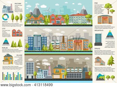 Urbanity Infographics Template With Environmental Infrastructure In Megapolis Factories And Resident