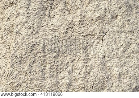 Background From Blurred White Clay Rainy Water, Natural Material, Atmospheric Impact, Outdoors, Hori