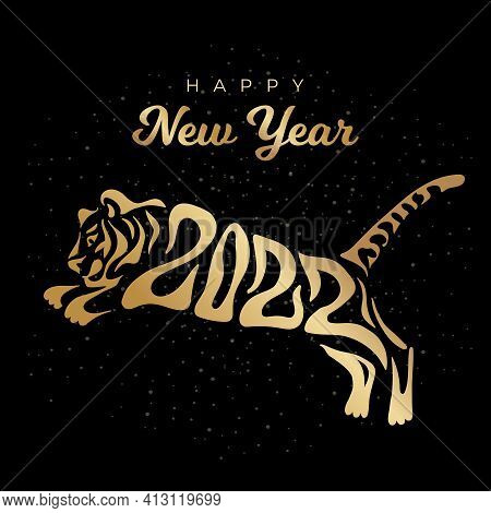 Happy New Year 2022. The Year Of The Tiger Of Lunar Eastern Calendar. Creative Tiger Logo And Number