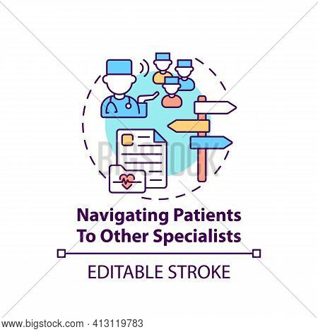 Navigating Patients To Other Specialists Concept Icon. General Practitioner. Hospital Therapist. Fam