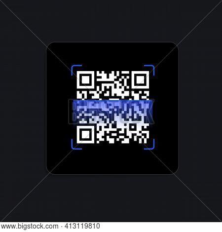 Qr Code Scanner Digital Widget. Vector Illustration