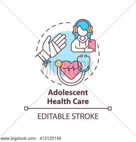 Adolescent Health Care Concept Icon. Professional Medical Support For Teenage Patient. Family Doctor