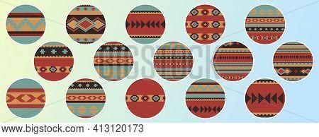 Set Of Round Design Elements. Boho Ethnic Geometric Patterns. 15 Story Highlight Covers, Icons, Labe