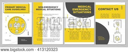 Primary Medical Care Guidelines Brochure Template. Patient Illness. Flyer, Booklet, Leaflet Print, C