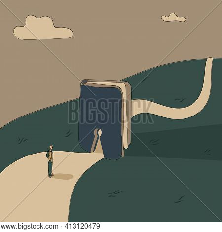 Concept:book Is Source Of Knowledge.tiny Boy Stand On Wide Road In Front Keyhole Entrance In Book To