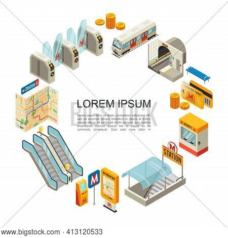 Isometric Metro Round Concept With Train Coins Travel Cards Security Booth Underground Station Gates