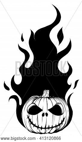 Draw In Black And White Of Halloween Fiery Pumpkin Face Vector Illustration Design