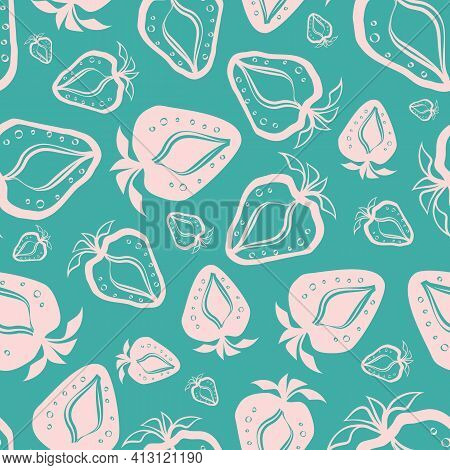 Strawberry Linocut Seamless Vector Pattern Background. Cute Stencil Style Hand Drawn Berries With Le