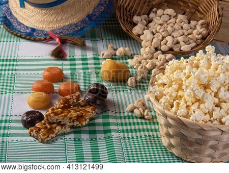 Festa Junina In Brazil, Typical Festa Junina Table In Brazil With Popcorn And Typical Sweets And Pro
