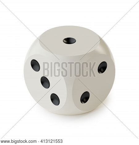 Game Dice With Rounded Edges And Corners In Isometric Projection Isolated On A White Background. Gam