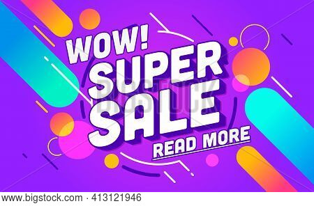 Sale Banner Template Design. Super Sale Special Discount Poster. End Of Season Special Offer Banner.