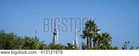 Orlando, Florida, Usa, May 24, 2013: Entrance To The Cape Canaveral Space Center, Florida. Museum Ex