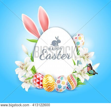Happy Easter Day Easter Eggs Colorful Different And Patterns Texture  And Rabbit Ears With Lilies Fl