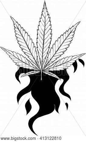 Draw In Black And White Of Leaf Hemp Fiery Vector Illustration Design