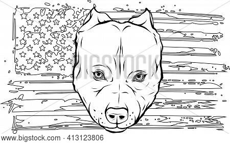 Draw In Black And White Of Head Of Aggressive Bully Dog With American Flag