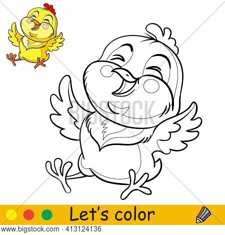 Cute Laughing Chicken Coloring With Colorful Template Vector