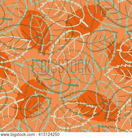 Elm Leaf Seamless Vector Pattern Background. Hand Drawn Line Art Outline Leaves And Silhouette Shado