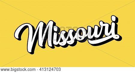 Hand Sketched Missouri Text. 3d Vintage, Retro Lettering For Poster, Sticker, Flyer, Header, Card