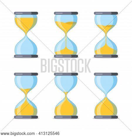 Set Of Hourglass. Sandglass Cartoon Icons With Animation Frames. Vintage Hourglass Process Timer San