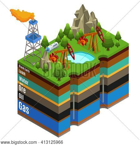 Isometric Gas Extraction Concept With Derricks Rig Truck And Different Layers Of Soil Isolated Vecto