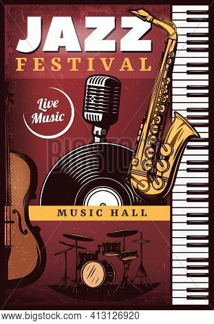 Vintage Colored Jazz Music Poster With Piano Saxophone Violin Drums Microphone And Vinyl Vector Illu