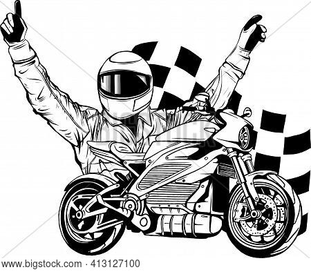 Draw In Black And White Of Motorbike Rider With Face Flag Vector Illustration
