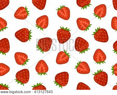Flat Strawberry Seamless Pattern. Appetizing Fresh Strawberry Vector Endless Background. Whole And C