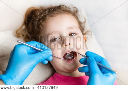 Examination, Treatment Teeth Children. Medical Checkup Oral Cavity With Instruments. Dental Hands, C