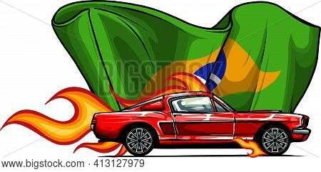 Vector Muscle Car With Flames And Brazil Flag
