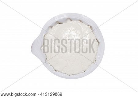 Homemade Rustic Russian Cottage Cheese In A Package On A White Background.cottage Cheese Is A Homema