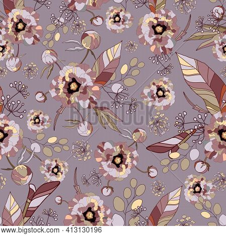 Peony And Roses. Floral Vintage Seamless Pattern. Peonies Flowers, Exotic Leaves, Branches And Berri