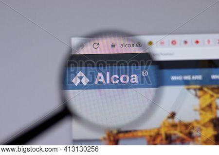 New York, Usa - 18 March 2021: Alcoa Company Logo Icon On Website, Illustrative Editorial