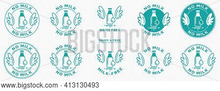 Conceptual Stamps. Labeling - Dairy Free, Milk Free, No Milk. The Brand With The Wings And The Milk