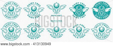 Conceptual Stamps. Labeling - Dairy Free. The Brand With The Wings And Cow Head Icon With Horns And